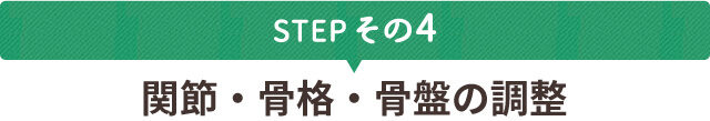 STEPその4 関節・骨格・骨盤の調整