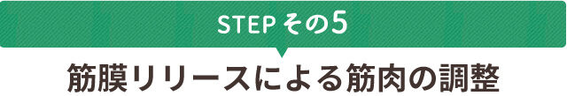 STEPその5 筋膜リリースによる筋肉の調整